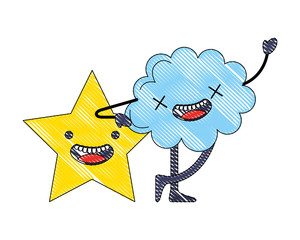 kawaii cloud and star cartoon comic