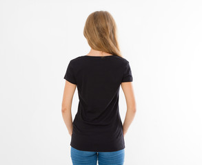 Front and back views of young caucasian girl woman in black stylish t-shirt on white background. Mock up for design. Copy space. Template. Blank