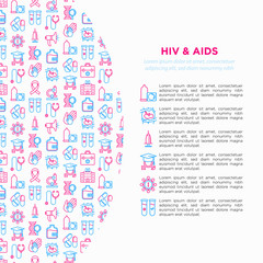 HIV and AIDs concept with thin line icons: safe sex, blood transfusion, physical examination, AIDs ribbon, blood test, microscope, genetic engeering. Modern vector illustration, print media template.