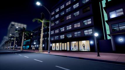 Beautiful scene of night neon street. 3D Rendering.