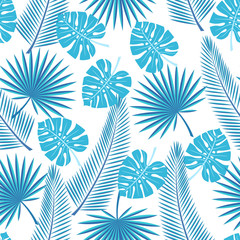 seamless tropical leaves  - palm, monstera. Seamless background with tropical leaves on a white background.