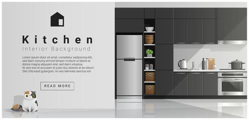 House interior scene , Modern kitchen background , vector , illustration