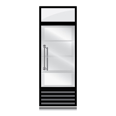 Freezer with transparent glass on white background. Black fridge refrigerator.
