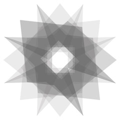 Transparent geometric figure, glass fractal, polygonal background