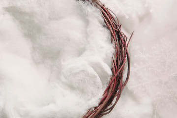 Nest against a star snowy backdrop