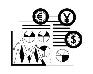 dollar euro and yen business with documents