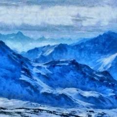 Hand drawing watercolor art on canvas. Artistic big print. Original modern painting. Acrylic dry brush background. Beautiful winter mountain landscape. Ski resort . Wonderful snow view.