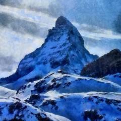 Tuinposter Purper Hand drawing watercolor art on canvas. Artistic big print. Original modern painting. Acrylic dry brush background. Beautiful winter mountain landscape. Ski resort . Wonderful snow view.