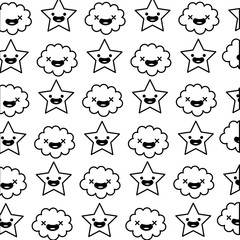 star and cloud kawaii characters pattern