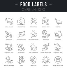 Set Vector Line Icons of Food Labels.