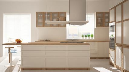 Modern wooden and white kitchen with island, stools and windows, parquet herringbone floor, architecture minimalistic interior design