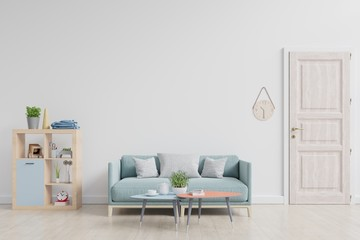 Bright room interior with furniture with white wall background. 3d rendering.