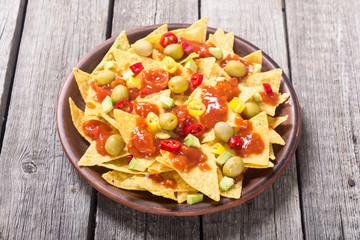 Nachos with sauce salsa