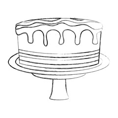 birthday sweet cake in stand party decoration vector illustration hand drawing