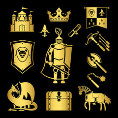 Knighthood in middle ages icons vector illustration