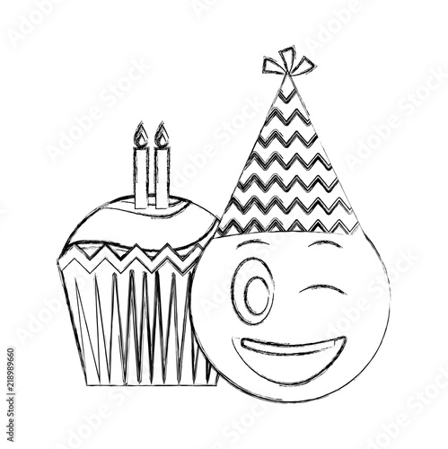 Birthday Emoji With Party Hat And Cupcakes Candles Vector Illustration Hand Drawing