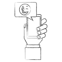 hand with smartphone chatting winking emoji vector illustration hand drawing