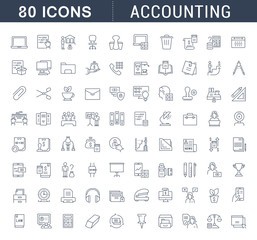 Set Vector Line Icons of Accounting.