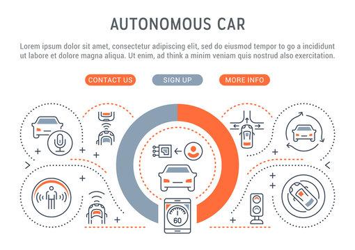 Linear Banner of Autonomous Car.