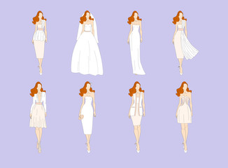 Wedding dresses in Different styles. Vector illustration..