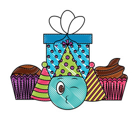 birthday emoji face cupcake party hat gift celebration vector illustration drawing color