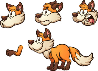Cartoon fox with different expressions. Vector clip art illustration with simple gradients. Some elements on separate layers.
