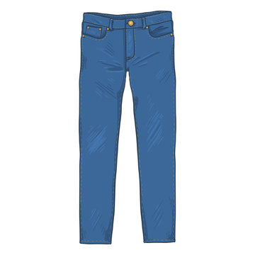 Vector Cartoon Illustration - Denim Jeans Pants. Front View.
