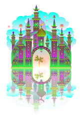 Illustration of a fantasy castle with reflection from eastern fairy tale. Vector cartoon image.