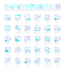 Set Line Icons of Dairy Products.