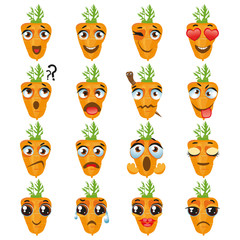 Carrot Emoji Emoticon Expression. Funny cute food