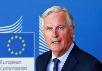 European Union's chief Brexit negotiator, Michel Barnier attends a media briefing with Britain's Secretary of State for Exiting the European Union, Dominic Raab, after a meeting at the EU Commission headquarters in Brussels