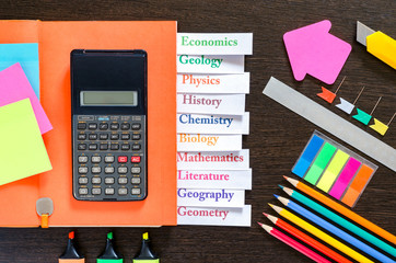 Back to school background with school supplies. Education concept. Top view. Flat lay