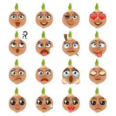 Onion Emoji Emoticon Expression. Funny cute food