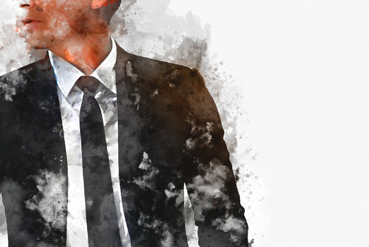 Abstract business man portrait on watercolor illustration painting background.