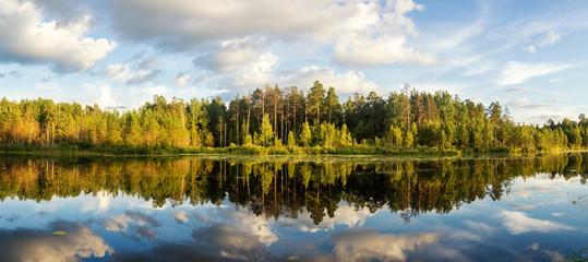 Панорама летнего вечернего пейзаж на Уральском озере с соснами на берегу, Россия, август