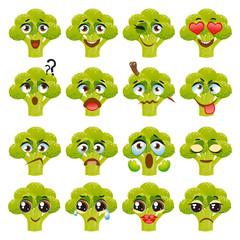 Broccoli Emoji Emoticon Expression. Funny cute food