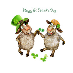 two sheep celebrate St. Patrick's Day