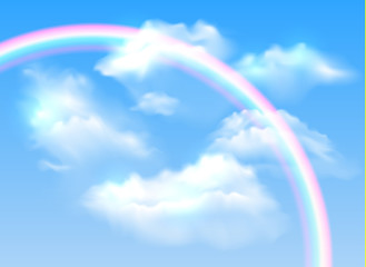Vector realistic blue sky with transparent colorful rainbow and white fluffy clouds