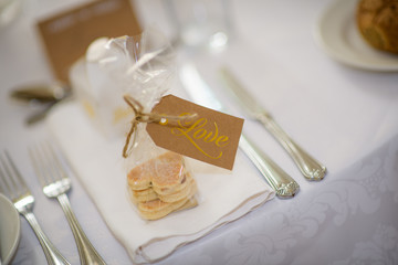 Wedding Favours, Welsh cakes in heart shape with Love Tag