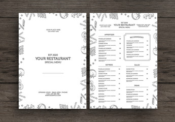 Restaurant Menu Layout with Food Illustrations