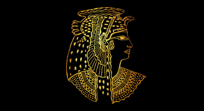 Abstract ancient Egyptian background, Cleopatra. Gold