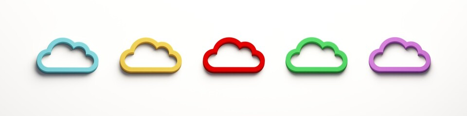 Five Cloud Computing Logo. 3D Rendering Illustration