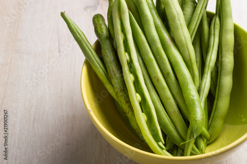 Ingredient for cooking  Vegan food, young bean pod from