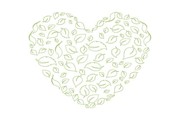 Heart symbol in green leaves. Vector. eco bio leaves in heart love green icon on white background.