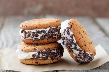 Homemade Chocolate Chip Cookie Ice Cream Sandwiches.