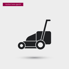 Lawn mower icon. Simple gardening element illustration. Vector symbol design from agriculture collection. Can be used in web and mobile.