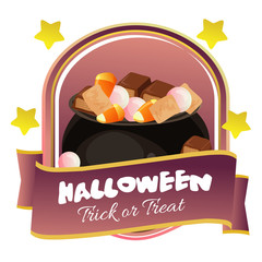 halloween badge with pot full of candy