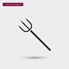 Pitchfork icon. Simple gardening element illustration. Vector symbol design from agriculture collection. Can be used in web and mobile.