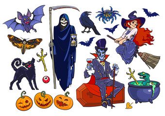 Big set of Halloween cartoon characters and objects. Hand drawn vector.