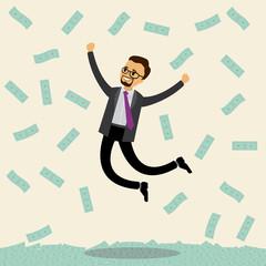 Caucasian businessman jumps joyfully